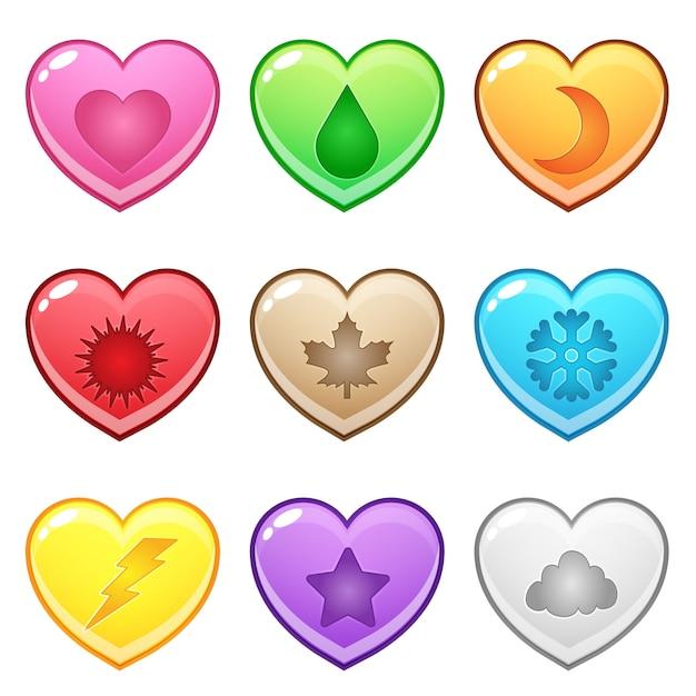 Cute hearts shape button represents various season symbols. Premium Vector
