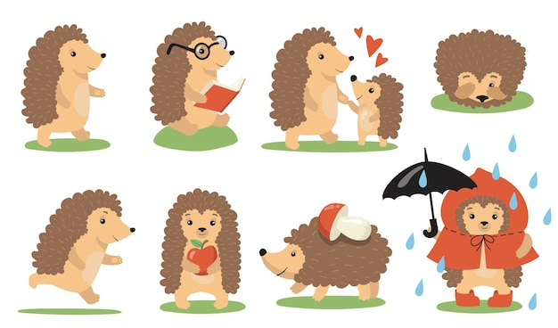 Cute hedgehog actions and poses set. cartoon wild animal walking in rain, reading, playing with baby, sleeping, running, carrying food. vector illustration for wildlife, nature Free Vector