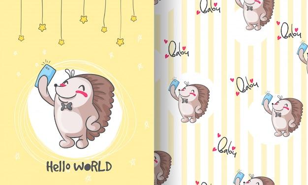 Cute hedgehog  animal seamless pattern illustration for kids Premium Vector