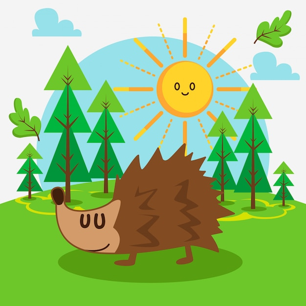 Cute hedgehog in the forest Premium Vector