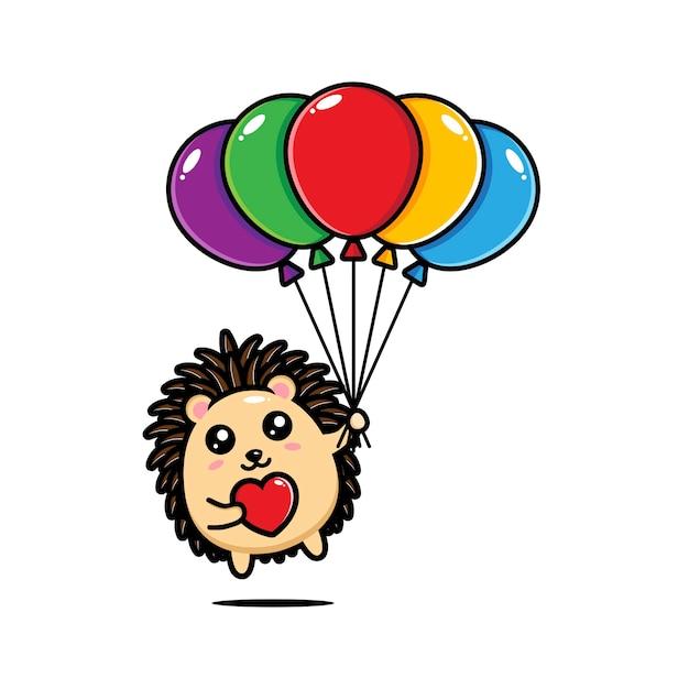Милый ежик держит воздушные шары Premium векторы