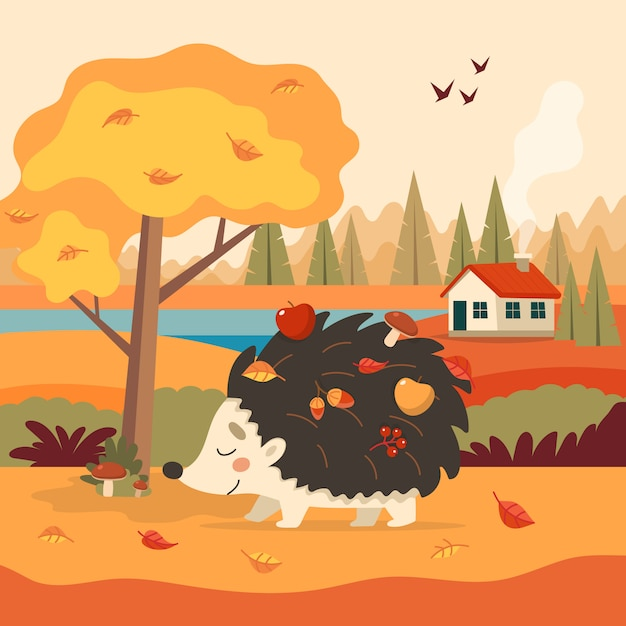 Cute hedgehog with autumn with tree and a house. Premium Vector