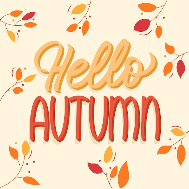 Cute hello autumn lettering with leaves Free Vector