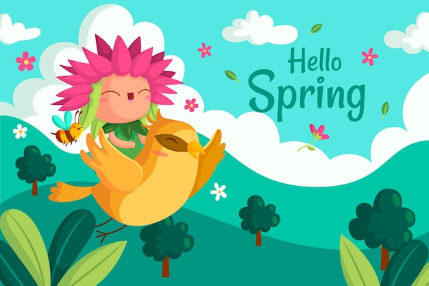 Cute hello spring background Free Vector