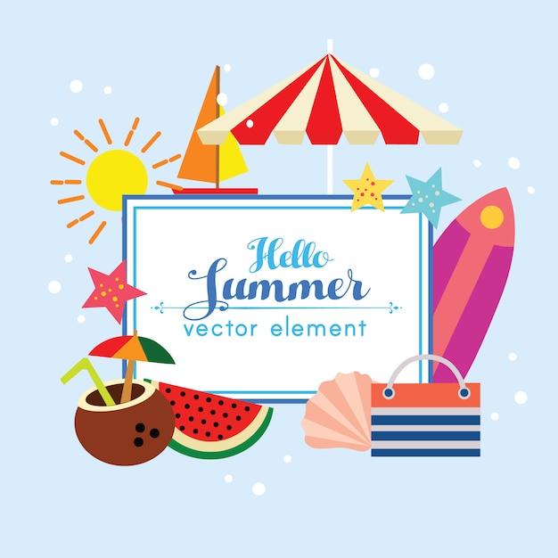 Cute hello summer valentine design element illustration Premium Vector