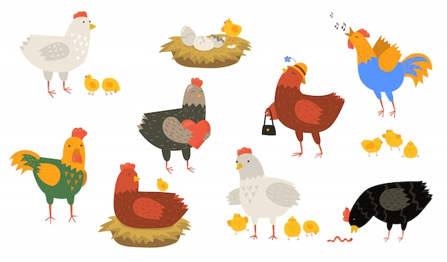 Cute hens and roosters set Free Vector