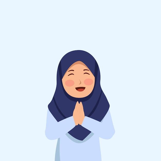 Cute hijab girl smilling Premium Vector
