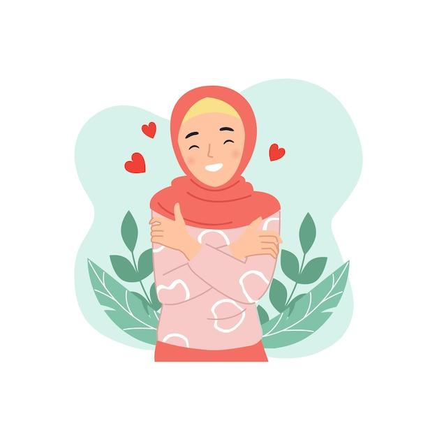 かわいいヒジャーブの女性は、セルフケアや愛の象徴として自分自身を抱きしめます。高い自尊心の概念。フラットな漫画のスタイル。 Premiumベクター