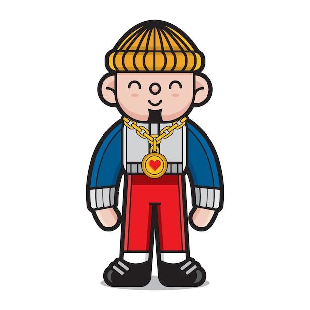 Симпатичный хип-хоп мультипликационный персонаж Premium векторы