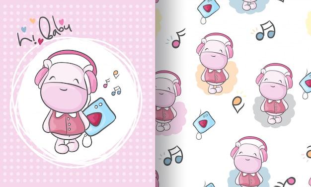 Cute hippo animal seamless pattern illustration for kids Premium Vector