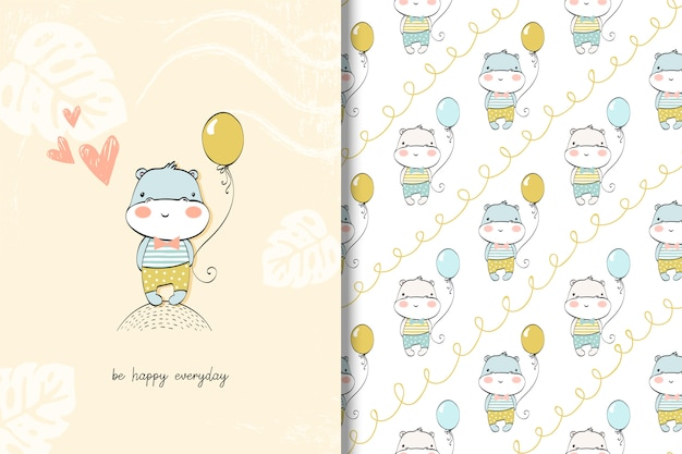 Cute hippo baby card and seamless pattern. Premium Vector