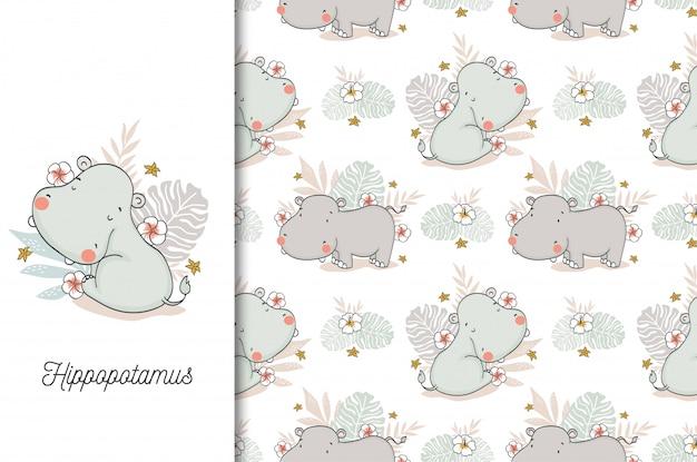 Cute hippo baby. jungle animal cartoon character and seamless pattern Premium Vector