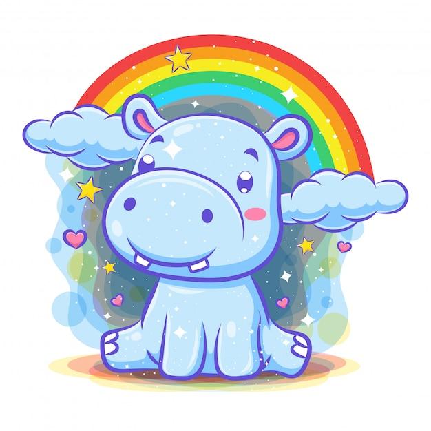 Милый персонаж бегемота с фоном радуги Premium векторы