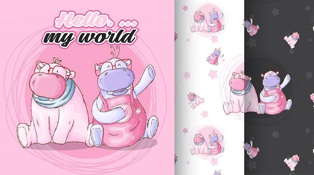Cute hippo pattern illustration Premium Vector