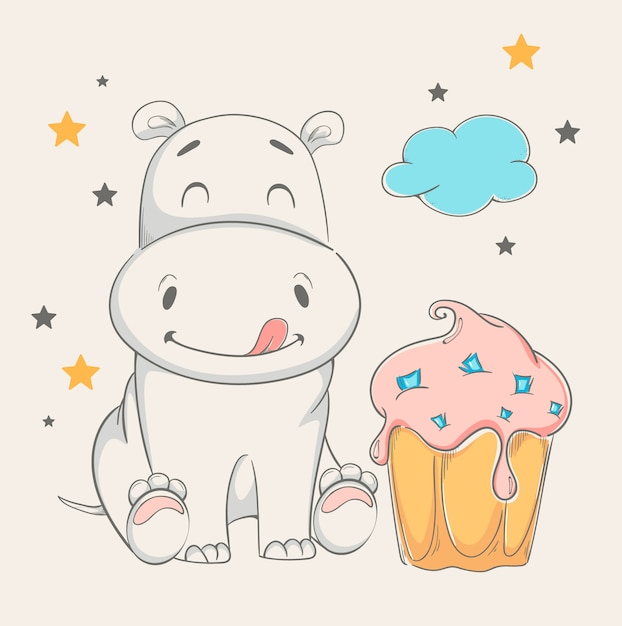 Cute hippo sitting near big cake Premium Vector