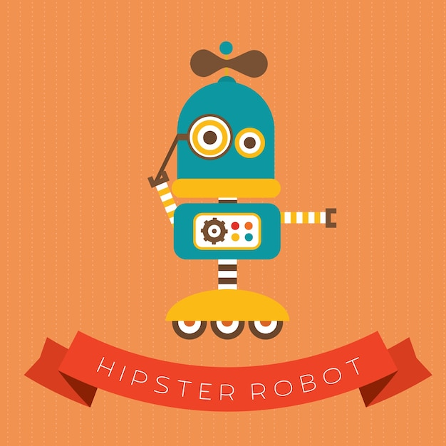 Cute hipster robot Free Vector