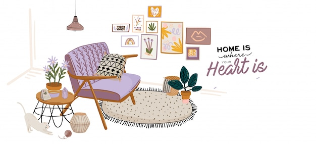 Premium Vector Cute Home Interior Background Motivational Quote Lettering Flat Vector Illustration In Trendy Style