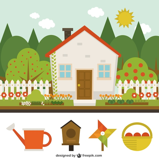 Cute house with garden vector free download for How to draw a cute house