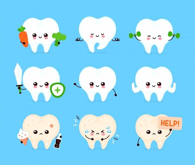 Cute human tooth set. healthy and unhealthy human organ Premium Vector