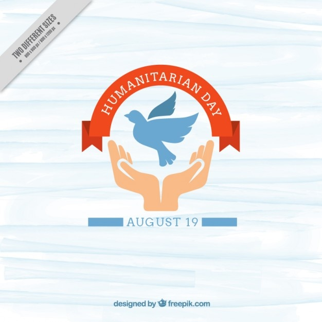 cute humanitarian day background with hands and dove