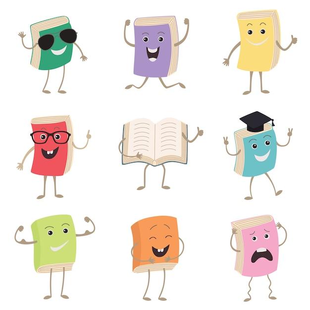 Cute humanized books characters Premium Vector