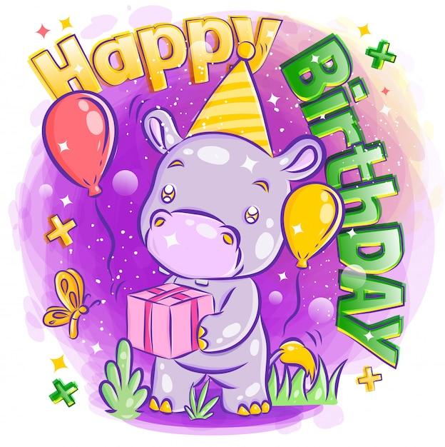 Cute hypothalamus celebrate happy birthday with birthday gift illustration Premium Vector