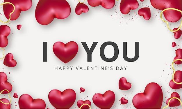 Carino ti amo sfondo con cuori rossi realistici per san valentino Vettore gratuito