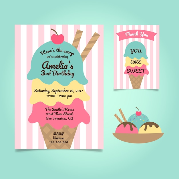 Cute ice cream birthday invitation Free Vector