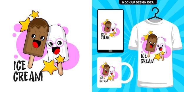 Милое мороженое карикатура иллюстрации и мерчендайзинг Premium векторы