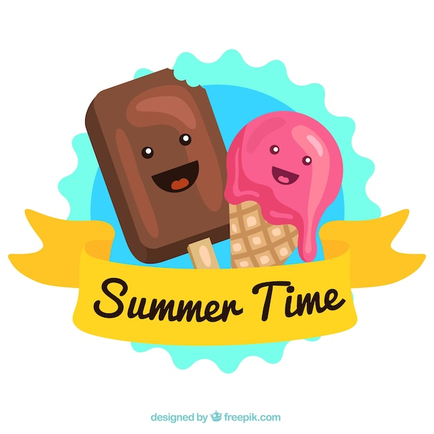 Background Of Cute Ice Cream With Phrase Vector: Cute Ice Cream Characters Vector