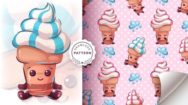 かわいいアイスクリームのシームレスなパターン 無料ベクター