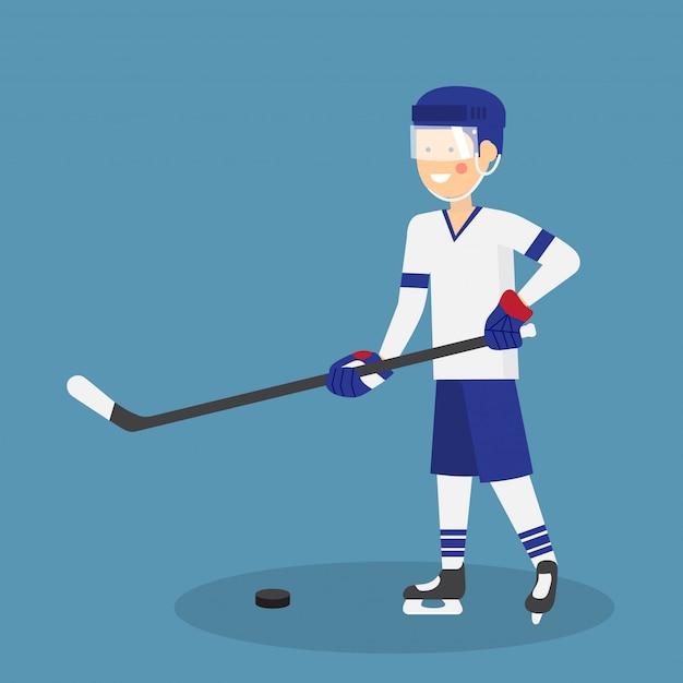 Милый хоккеист с клюшкой и шайбой готов к игре Premium векторы