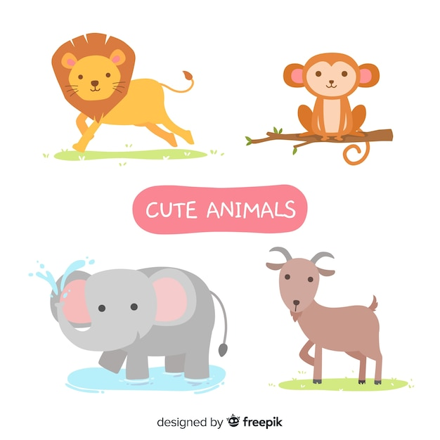 Cute illustrated animals collection Free Vector