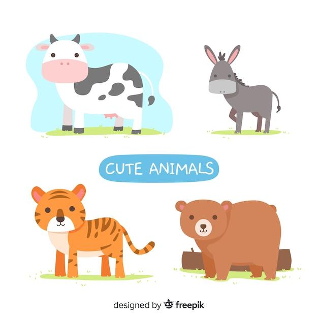 Cute illustrated animals set Free Vector