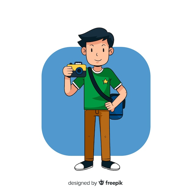Cute illustrated photographer working Free Vector