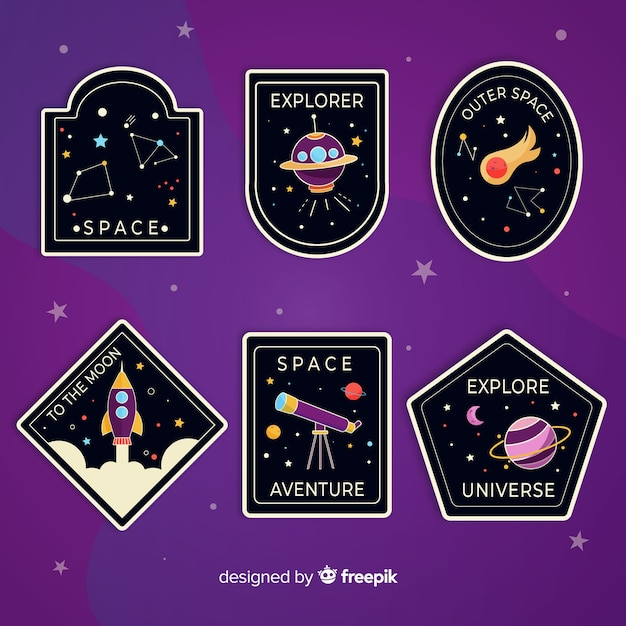 Cute illustrated space stickers collection Free Vector