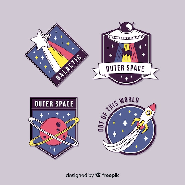 Cute illustrated space stickers set Free Vector