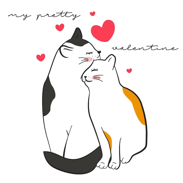 Cute illustration of cats for valentines Free Vector