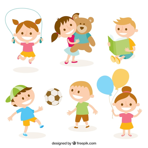 Cute illustration of kids playing Free Vector