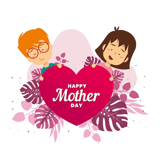 Cute illustration of mother's day event Free Vector