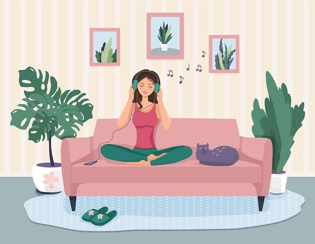 ソファに座っている女の子のかわいいイラスト。音楽を聴いて幸せ。 Premiumベクター