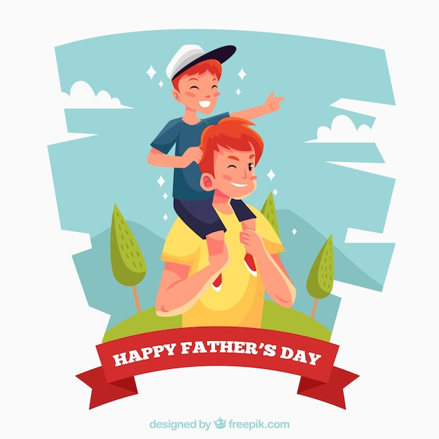 Cute illustration of father with his son on the\ shoulders
