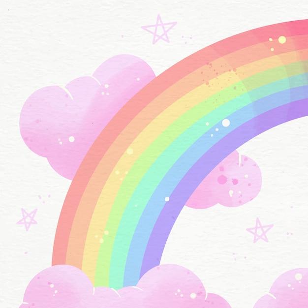 Симпатичные иллюстрации яркой акварельной радуги Бесплатные векторы