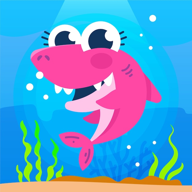 Cute illustration of pink baby shark Free Vector