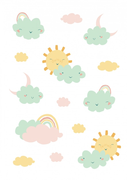 Cute illustration with rainbow, clouds and sun Premium Vector
