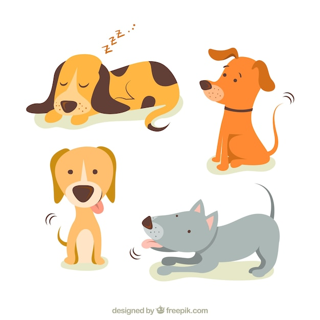 Cute illustrations of dogs Free Vector