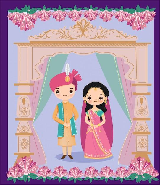 Симпатичные индийские жених и невеста в стиле раджастхани для свадебного приглашения Premium векторы