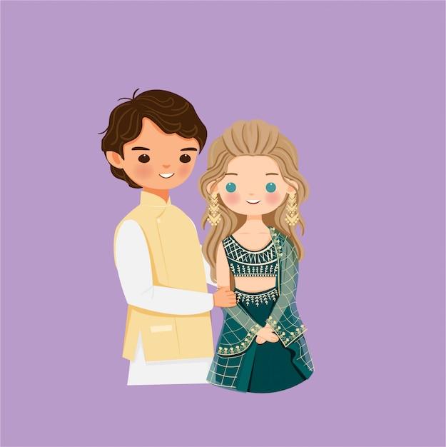 Симпатичная индийская пара мультипликационный персонаж Premium векторы