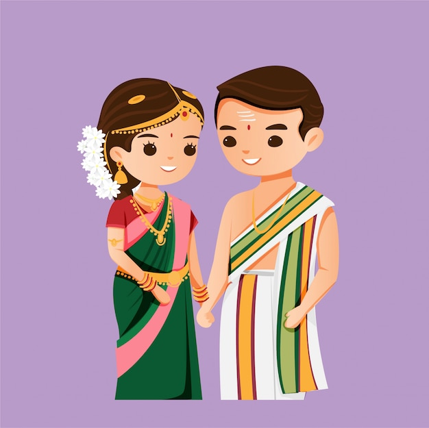 Cute Indian Couple In South Wedding Traditional Dress Premium Vector