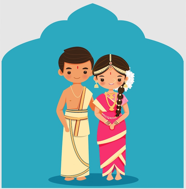 Cute indian couple in tamil iyengar tradition wedding dress Premium Vector